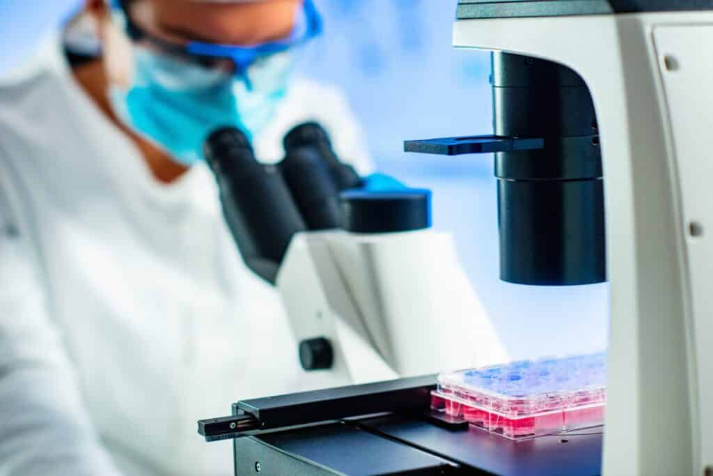 Stem cell researcher working in laboratory